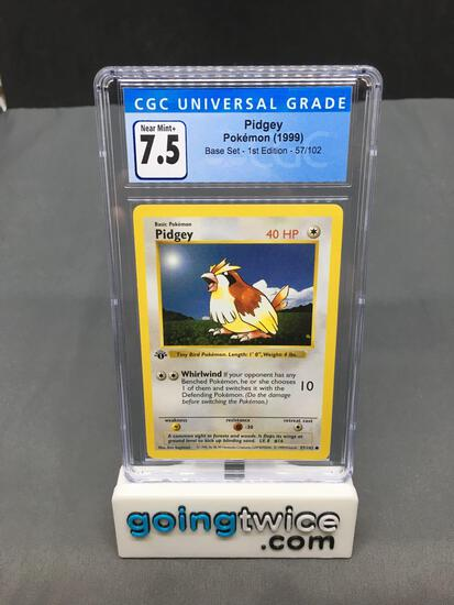 CGC Graded 1999 Pokemon Base Set 1st Edition Shadowless #57 PIDGEY Trading Card - NM+ 7.5