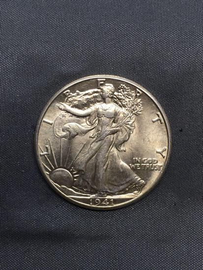 1941 United States Walking Liberty Silver Half Dollar - 90% Silver Coin from Estate