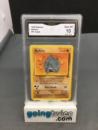 GMA Graded 1999 Pokemon Jungle Unlimited #61 RHYHORN Trading Card - GEM MINT 10