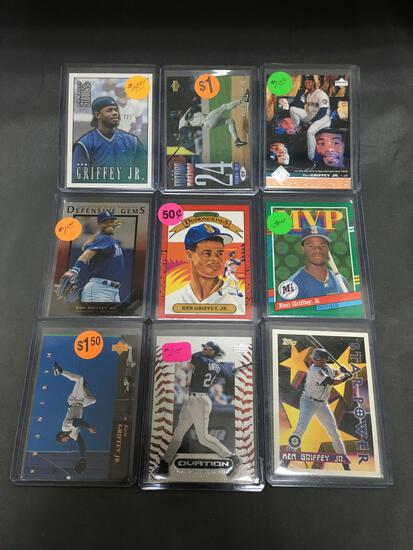 9 Card Lot of KEN GRIFFEY JR Seattle Mariners Baseball Cards from Massive Collection