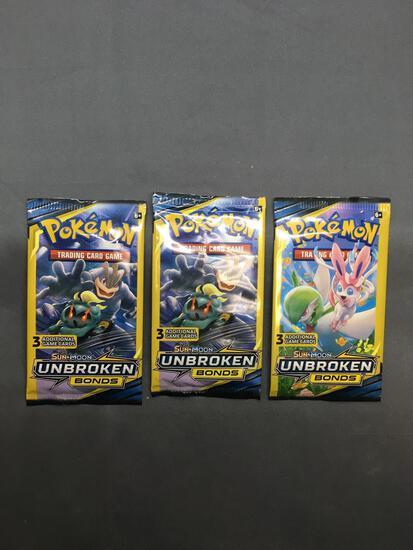 Lot of 3 Factory Sealed Pokemon UNBROKEN BONDS 3 Card Booster Packs from Retail Box