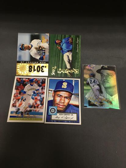 5 Card Lot of KEN GRIFFEY JR Seattle Mariners HOF Baseball Cards from Massive Collection