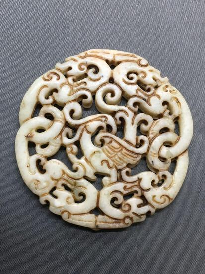 Asian Style Hand-Carved Twin Dragon Themed Round 70mm Diameter White Jade Pendant