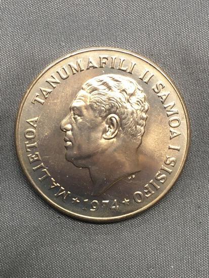 1974 Samoa 1 Tala Silver Foreign World Coin - 92.5% Silver Coin - 0.9264 Ounces Actual Silver Weight