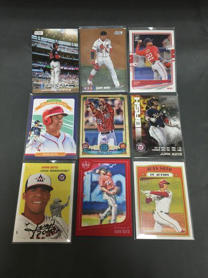9 Card Lot of JUAN SOTO Washington Nationals Baseball Cards from Massive Collection
