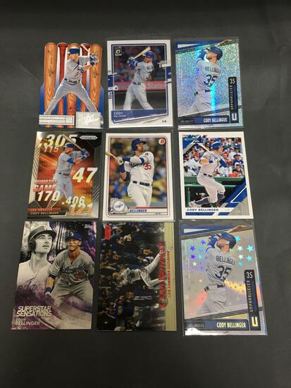 9 Card Lot of CODY BELLINGER Los Angeles Dodgers Baseball Cards from Massive Collection