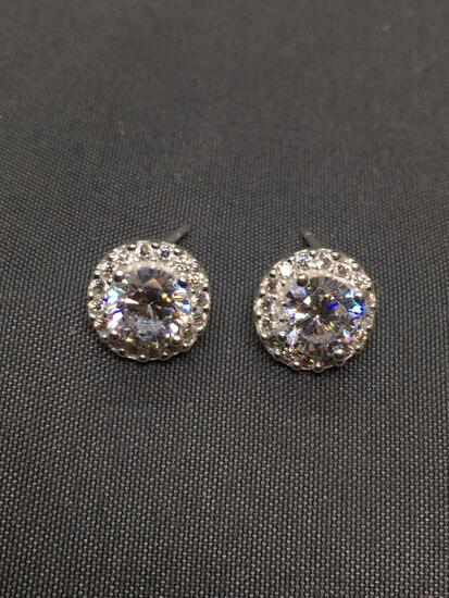 Round Faceted 5.5mm CZ Center Halo Design Pair of Sterling Silver Stud Earrings
