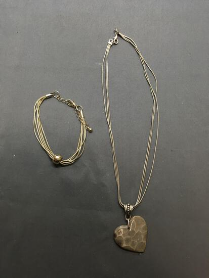 Lot of Two Multi-Strand Fashion Snake Link Jewelry, One 8in Long Bracelet & One 16in Long Necklace