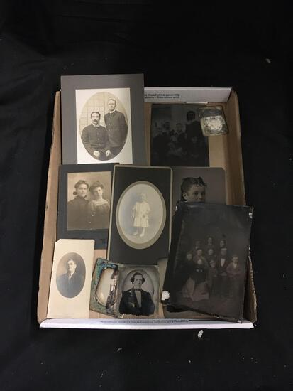 Lot of Miscellanous Cabinet Portrait Cards and Tin Types from Estate - COOL