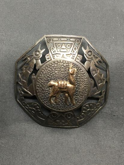 Octagonal Shaped 42mm Diameter Old Pawn Mexico Aztec Motif Signed Designer Sterling Silver Brooch
