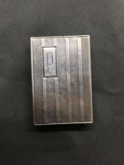Rectangular 40mm Tall 28mm Wide 13mm Deep Monogrammed Sterling Silver Matchbook Cover