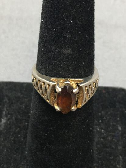 Marquise Faceted 8x5mm Garnet Center Filigree Detailed 18kt Gold Filled Ring Band