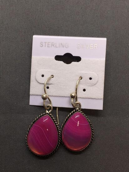 New! Larger Drop Pink Botswana 1 1/8in Pair of Sterling Silver Earrings