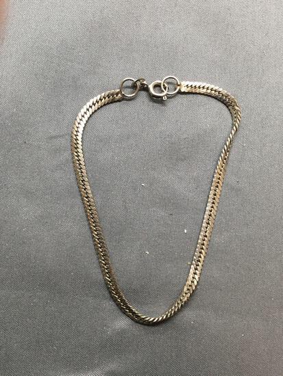 Flat Curb Link 2.75mm Wide 7in Long Sterling Silver Bracelet