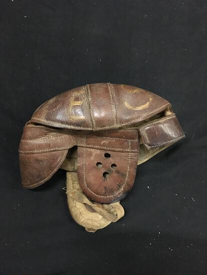 Vintage Brown Leather Football Helmet from the Early Days of Football - RARE