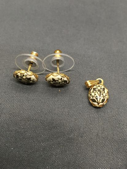 Lot of Two Matched Set Gold-Tone Painted Porcelain Featured Fashion Jewelry, One Pair of Earrings &
