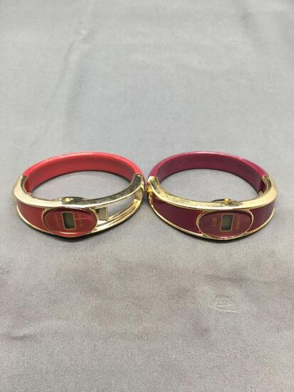Lot of Two Maroon Gold-Tone Accented 3in Diameter Matched LCD Fashion Bangle Watches