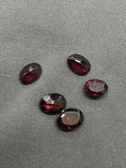 Lot of Five Oval Faceted Loose Garnet Gemstones