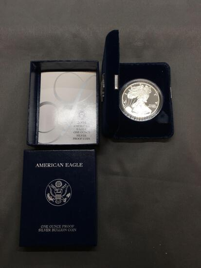 2004 United States 1 Ounce .999 Fine Silver American Eagle Silver PROOF Bullion Round Coin in