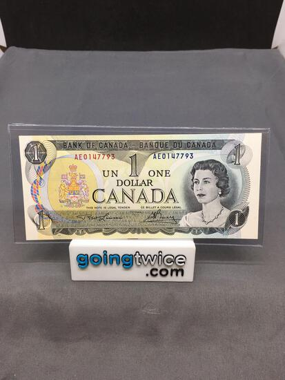 1973 Canada Queen Elizabeth $1 Bill Currency Note from Estate Collection - Uncirculated Condition