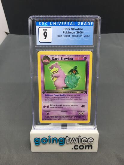 CGC Graded 2000 Pokemon Team Rocket 1st Edition #29 DARK SLOWBRO Rare Trading Card - MINT 9