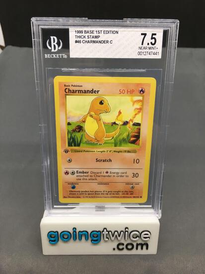 BGS Graded 1999 Pokemon Base Set 1st Edition Thick Stamp #46 CHARMANDER Trading Card - NM+ 7.5