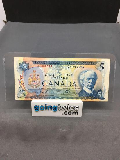 1972 Canada Lawson/Bouey $5 Bill Currency Note from Estate Collection
