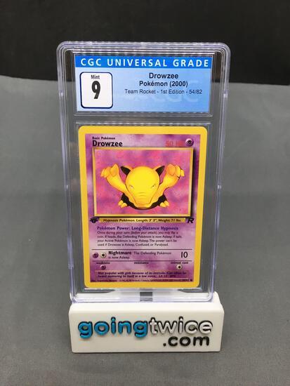 CGC Graded 2000 Pokemon Team Rocket 1st Edition #54 DROWZEE Trading Card - MINT 9