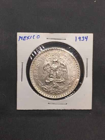 1934 Mexico 1 Peso Silver Foreign World Coin - 72% Silver Coin - .3856 Ounces Actual Silver Weight