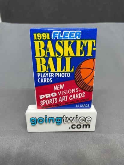 Factory Sealed 1991-92 Fleer Basketball 14 Card Pack from Vintage Hoard