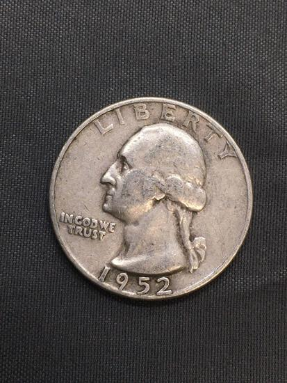 1952-D United States Washington Silver Quarter -90% Silver Coin from Estate