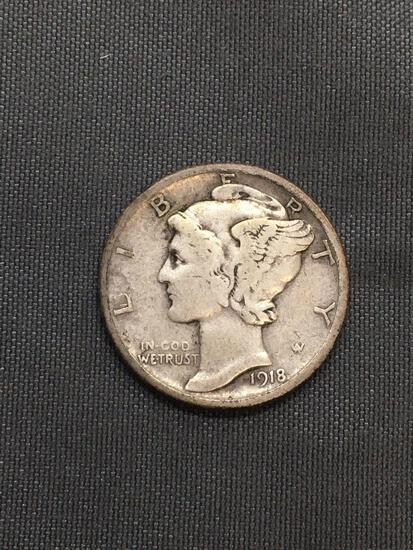1918-D United States Mercury Silver Dime - 90% Silver Coin from Estate
