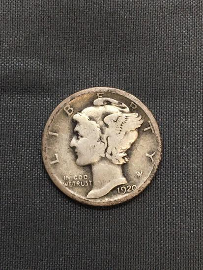 1920-S United States Mercury Silver Dime - 90% Silver Coin from Estate