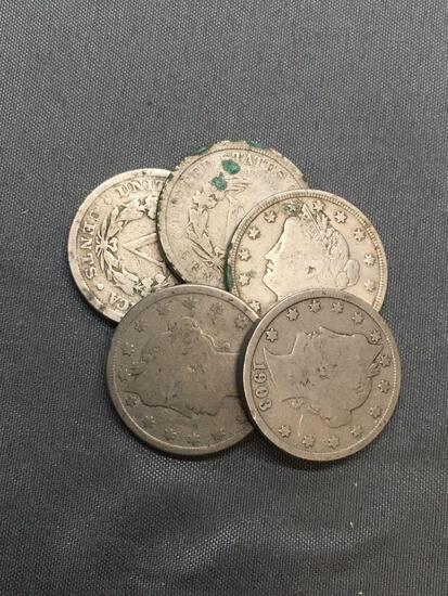 5 Count Lot of United States Liberty V Nickels - Coins from Estate