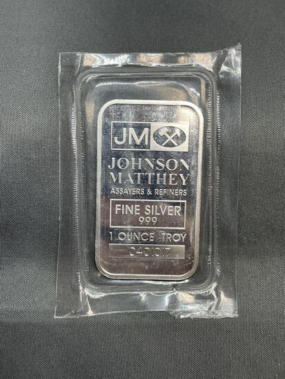 1 Troy Ounce .999 Fine Silver JOHNSON MATTHEY Silver Bullion Bar from Estate