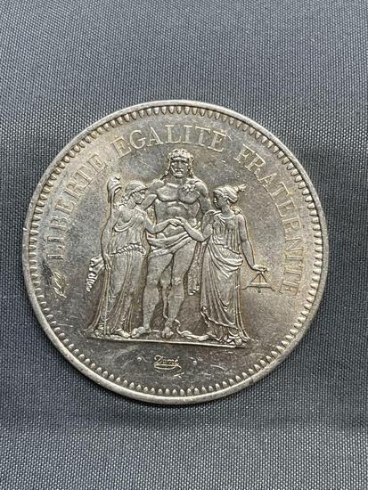 1977 France 50 Francs Silver Foreign World Coin - 90% Silver Coin - 0.8681 Ounces Actual Silver