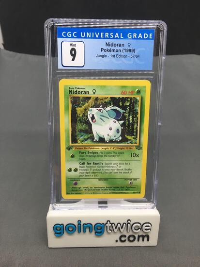 CGC Graded 1999 Pokemon Jungle 1st Edition #57 NIDORAN Trading Card - MINT 9