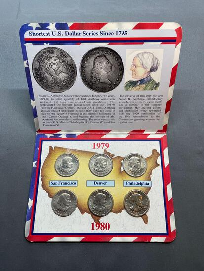 1979 and 1980 United States Mint Susan B Anthony Mint Set of Dollar Coins