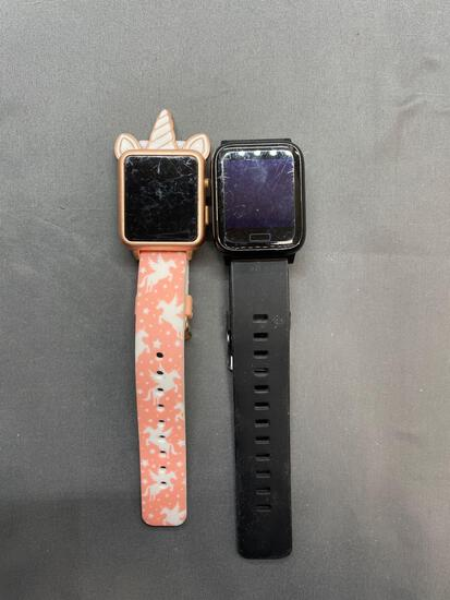 Lot of Two Rectangular Face Digital Smart Watches, One Accutime Brand Unicorn Style & One LBStar