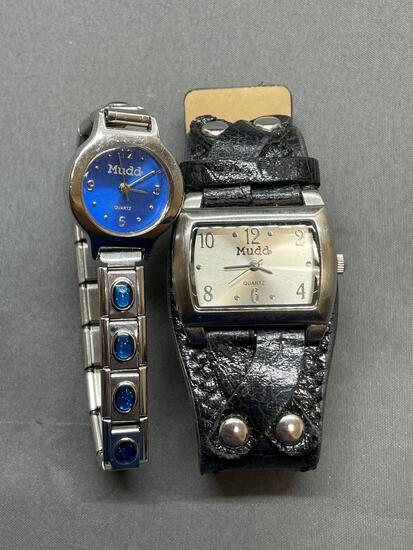 Lot of Two Mudd Branded Stainless Steel Watches, One Round 17mm Face & One Rectangular 25x15 mm Face