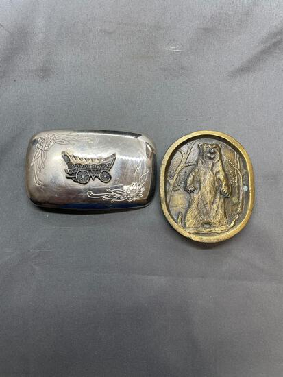 Lot of Two Made in the USA Fashion Belt Buckles, One Nickel Silver Covered Wagon Theme & One Grizzly