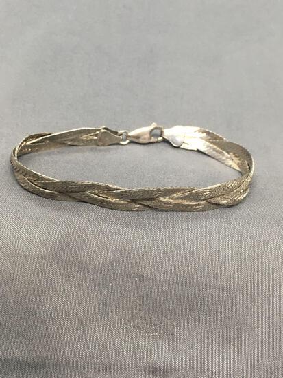 Triple Snake Link Braided 7mm Wide 7in Long Italian Made Sterling Silver Bracelet