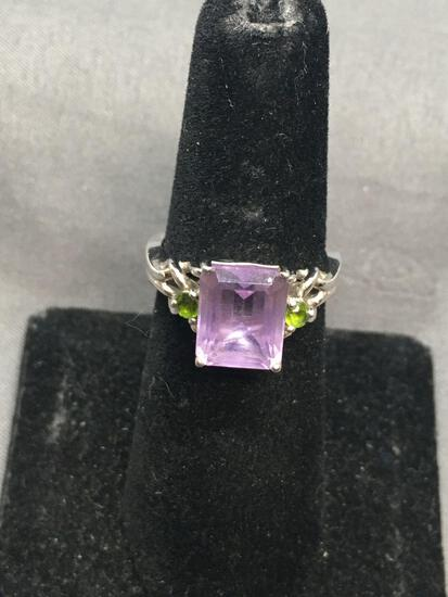 Rectangular 10x8mm Emerald Cut Faceted Amethyst Center w/ Twin Round Chrome Diopside Sides Knot