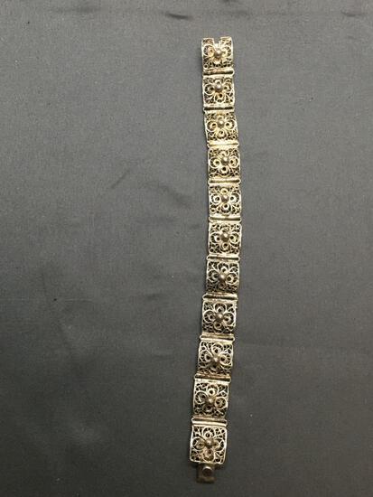 Filigree Lace Detailed 13mm Wide 7in Long Sterling Silver Link Bracelet