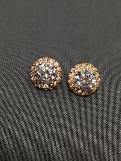 Round Faceted 5.5mm CZ Center Halo Design 9mm Diameter Rose-Tone Pair of Sterling Silver Stud