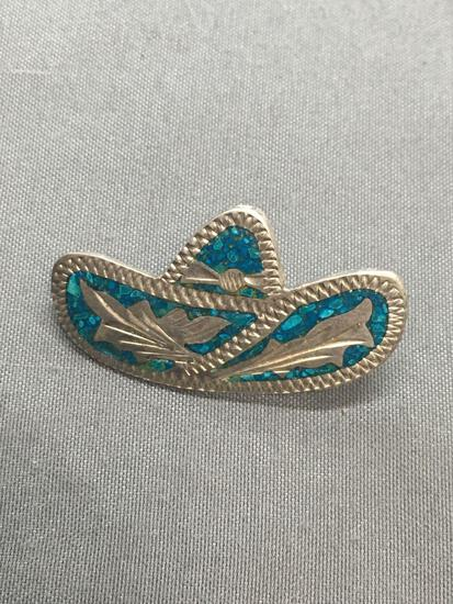 Engraving Detailed Turquoise Inlaid 33mm Wide 18mm Tall Sterling Silver Sombrero Brooch