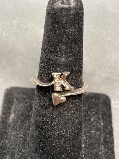 Avon Designer Round Rhinestone Accented Heart Motif Letter K Bypass Sterling Silver Monogrammed Ring