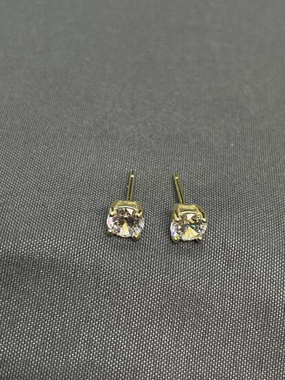 Round Faceted 5mm CZ Center Gold-Tone Pair of Sterling Silver Stud Earrings