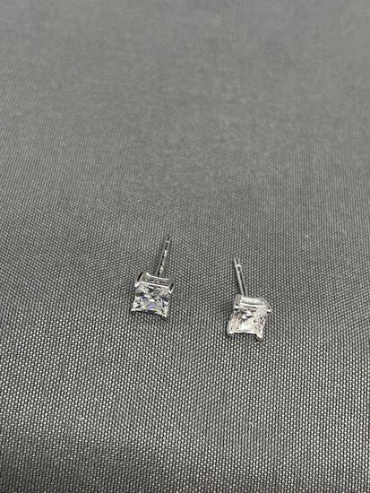 Princess Faceted 3.5x3.5mm CZ Center Pair of Sterling Silver Stud Earrings