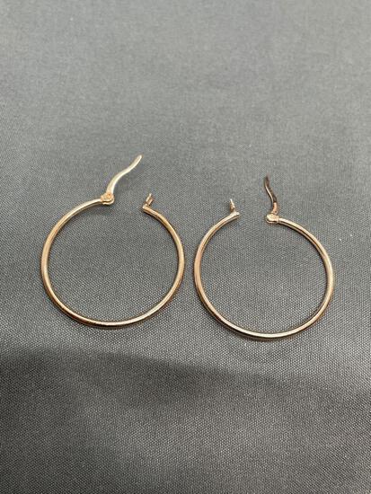 Round 28mm Diameter 1.5mm Wide Rose-Tone Pair of Sterling Silver Hoop Earrings